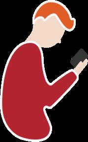Homme regardant son téléphone - man looking at his phone
